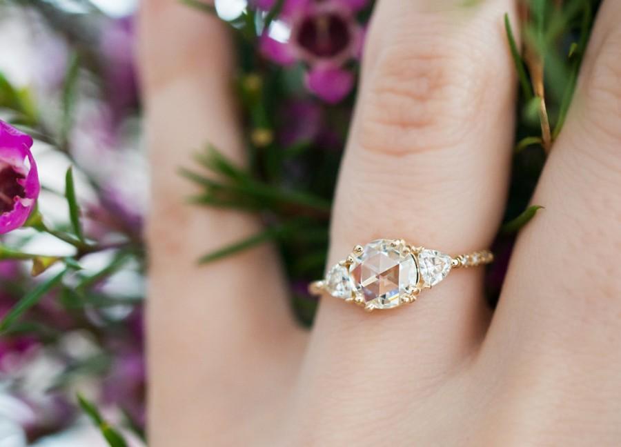 زفاف - 6.5mm Rose Cut Moissanite Engagement Ring