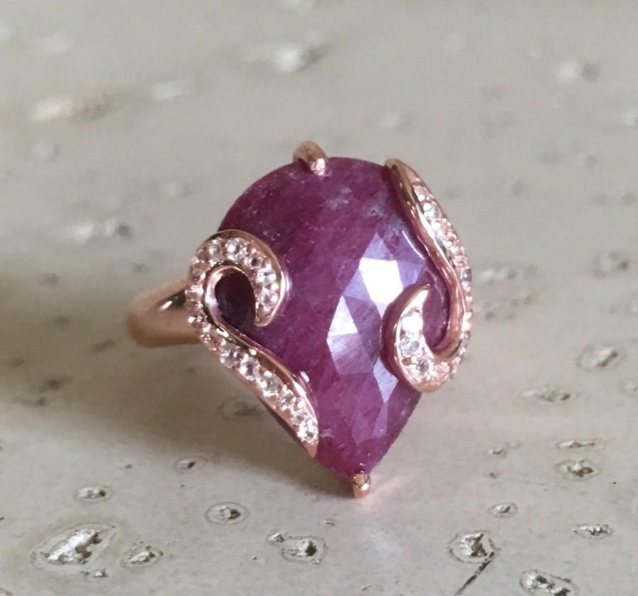 زفاف - Ruby Engagement Ring- Statement Ring- Alternative Engagement Ring- Proposal Bridal Ring- Promise Ring- Rose Gold Ring- July Birthstone Ring