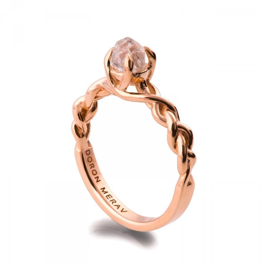 زفاف - Raw Diamond Engagement Ring - 18K Rose Gold and Rough Diamond engagement ring, Unique Engagement ring, rough diamond ring, 2