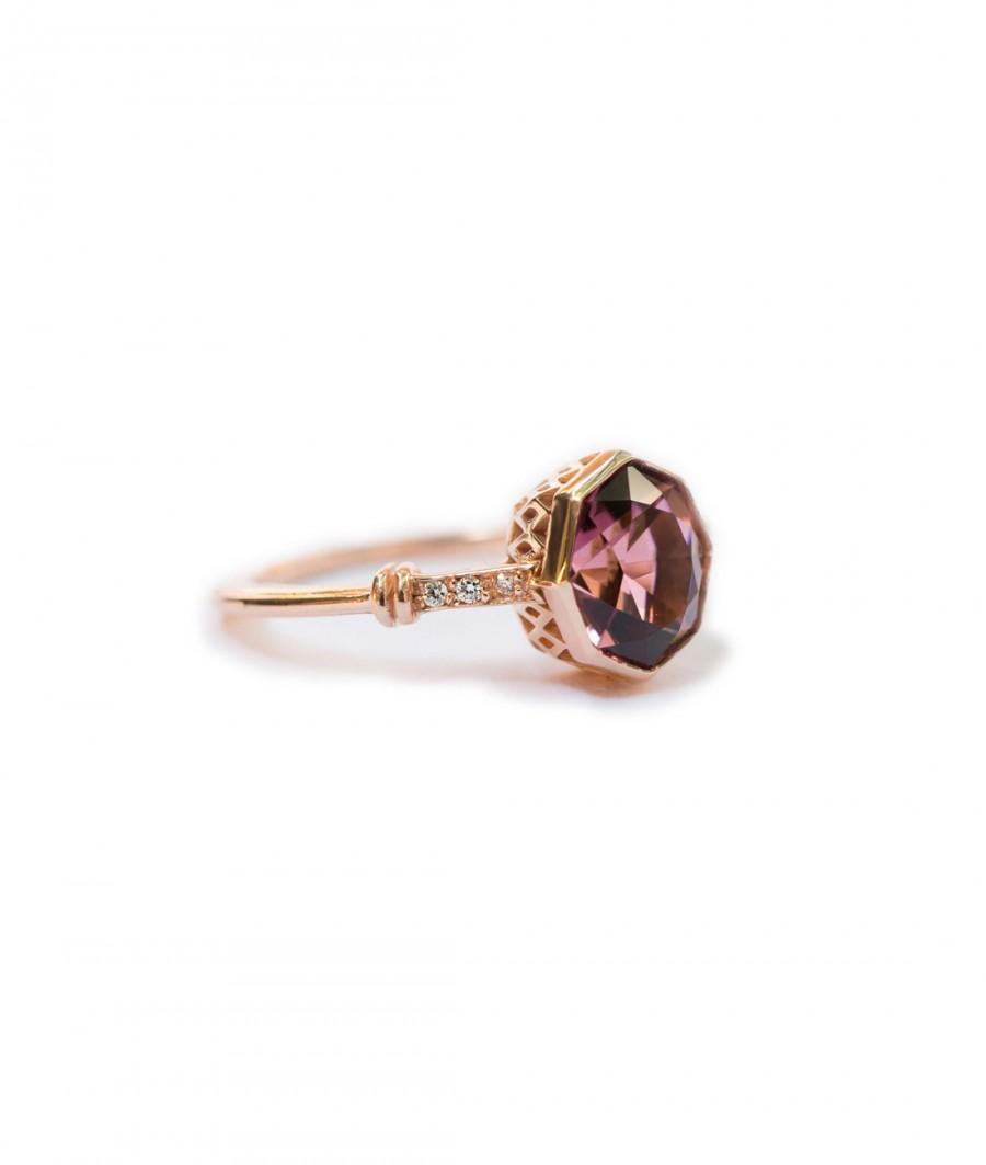 زفاف - Pink Tourmaline Engagement Ring