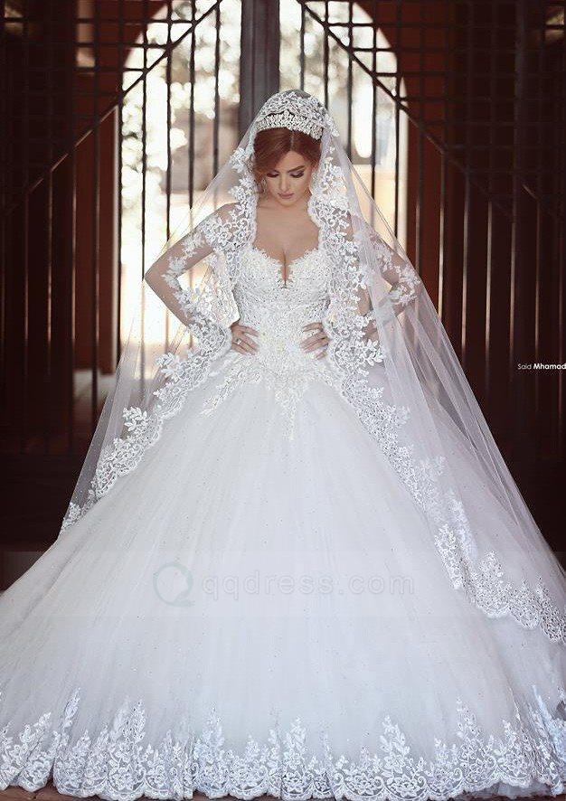 Wedding - Ball Gown Off The Shoulder Cathedral Train Tulle Wedding Dress with Appliqued