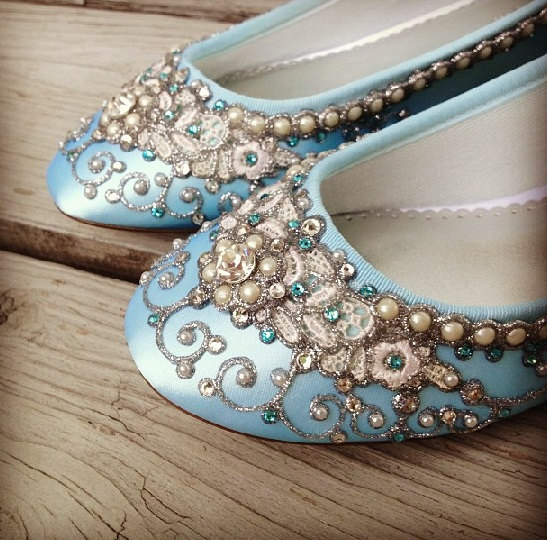 Mariage - Wedding Shoes - Fairy Tale Inspired Closed Toe Flats - Lace, Crystals and Pearls - Blue/White/Ivory/Custom Colors