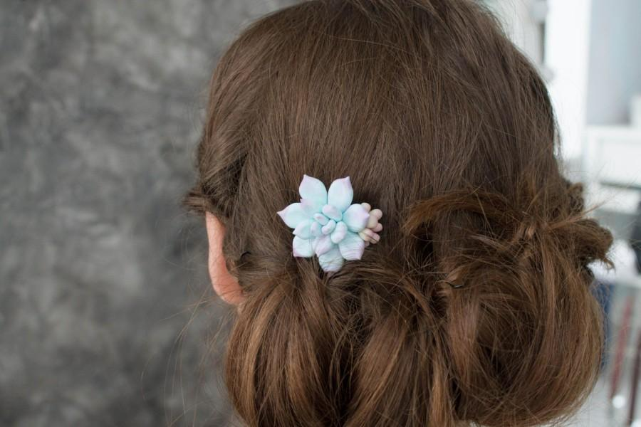 Mariage - Blue Purple Succulent Planter Small Succulent Comb Wholesale Mini Succulent Comb Plants Arrangement Succulent Jewelry Wedding Bridal Hair