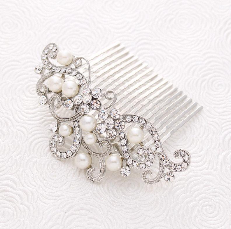 Mariage - Bridal Hair Accessory, Rhinestone Hair Comb, Vintage Wedding Comb, Crystal Hair Pin, Prom Bridal Hair Piece, Silver Combs, Hair Jewelry