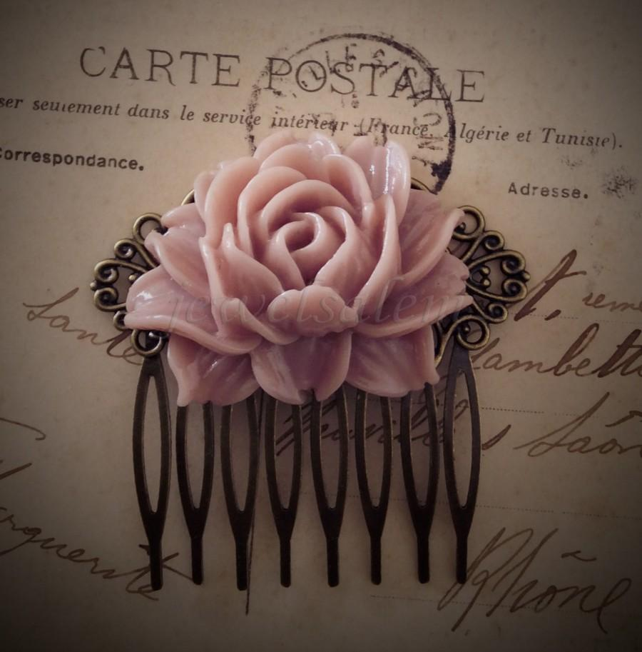 Mariage - Pink Wedding Hair Comb Rose Blush Bridal Head Piece Pastel Pink Big Flower Comb Bridesmaids Gift Large Floral Comb Shabby Chic Statement