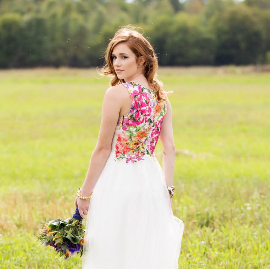 Alternative Wedding Dress All White With Bright Floral Back
