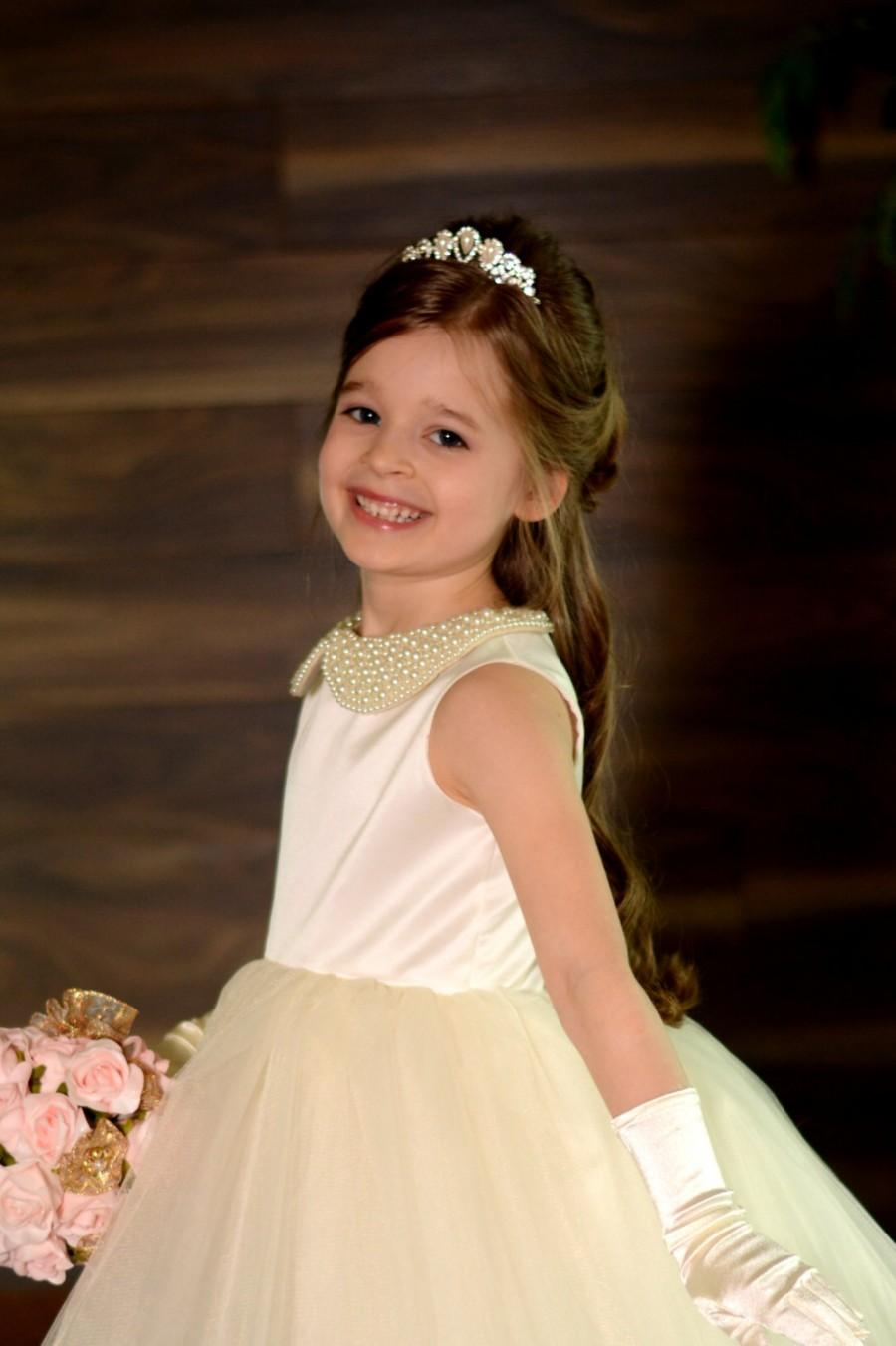 Wedding - Pearl collar Ruffled Flower Girl Dress Junior bridesmaid dress - Baby cristening Dress - Ivory Flower girl Dress- flower girl dress