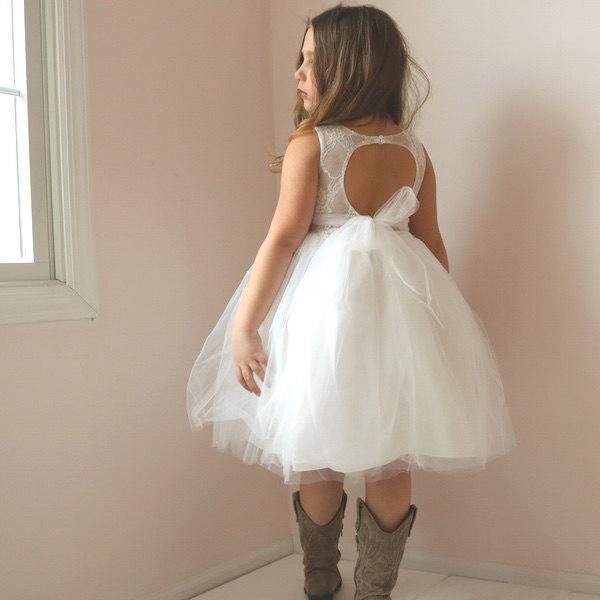 Wedding - Open Back Flower Girl Dress, Lace Rustic Flower Girl Dress, Country Flower Girl Dress, Tulle Tutu Flower Girl Dress, Sweetheart Dress