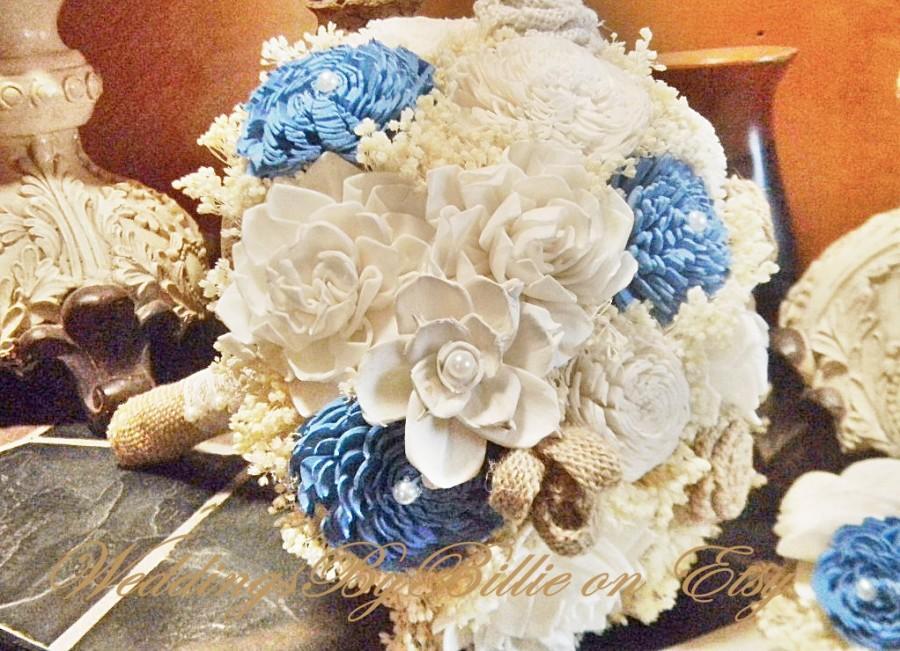 Mariage - Blue Sola Bouquet, Sola Flowers, Beach Wedding, Blue Ivory Bouquet, Alternative Bouquet,Burlap & Lace,Bridal Accessories,Keepsake Bouquet