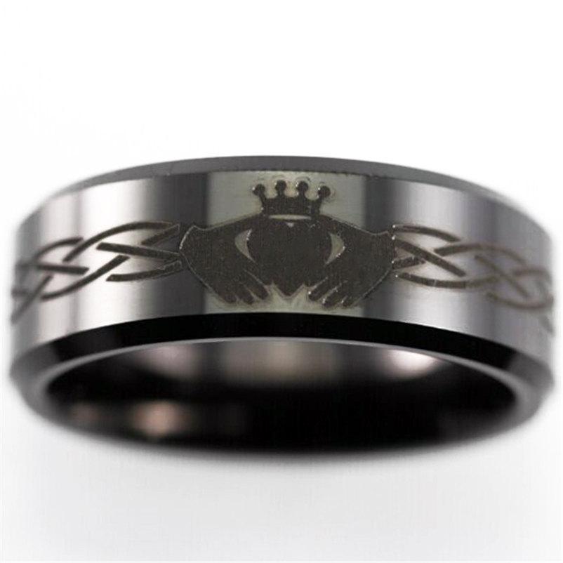 زفاف - Free Engraving Good Quality  Celtic Claddagh Design Ring 8mm Black Bevel Tungsten ring Comfort Fit Design Men's Wedding Ring Promise Ring