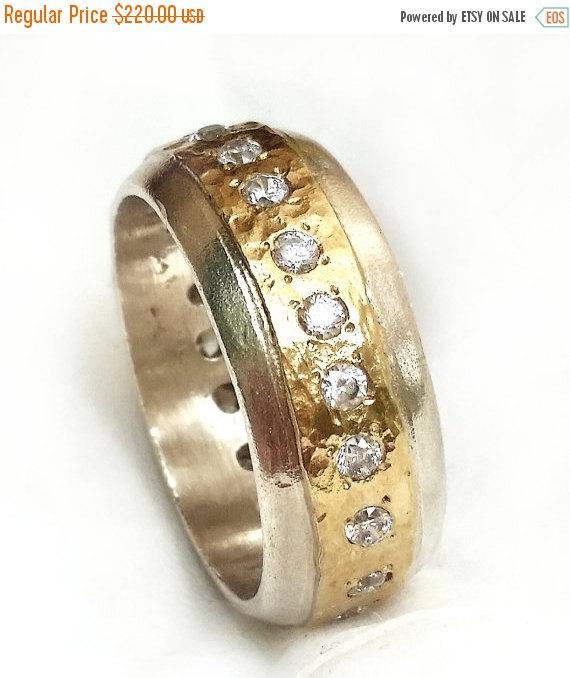 زفاف - SALE Luminous convex ring, sterling silver and yellow gold inlaid with CZ, women's ring, engagement ring, anniversary ring, Ilan Amir