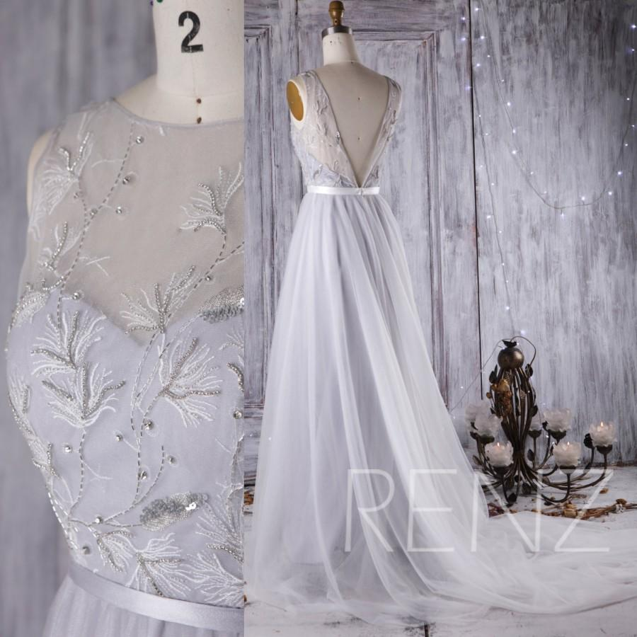 Mariage - 2016 Light Gray Mesh Bridesmaid Dress, Sweetheart Illusion Neck Wedding Dress, Lace Beading Bodice Ball Gown, A Line Prom Dress Floor(HW317)
