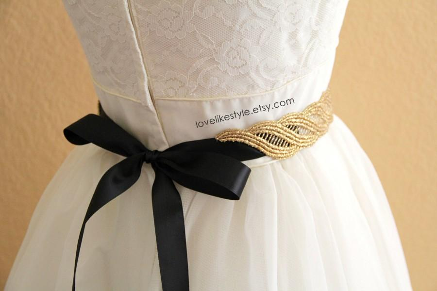 Mariage - Gold  Metallic Lace with Champagne Satin Sash , Bridal Sash, Bridesmaid Sash ,GSH-31