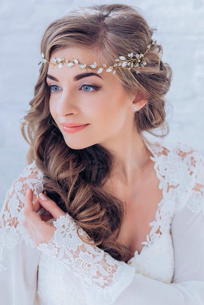 Свадьба - Crystal Decorated Wedding Bridal Hair Vine Wedding Hair Piece Bridal HeadBand Wedding Tiara Bridal Diadem Bridal Wreath