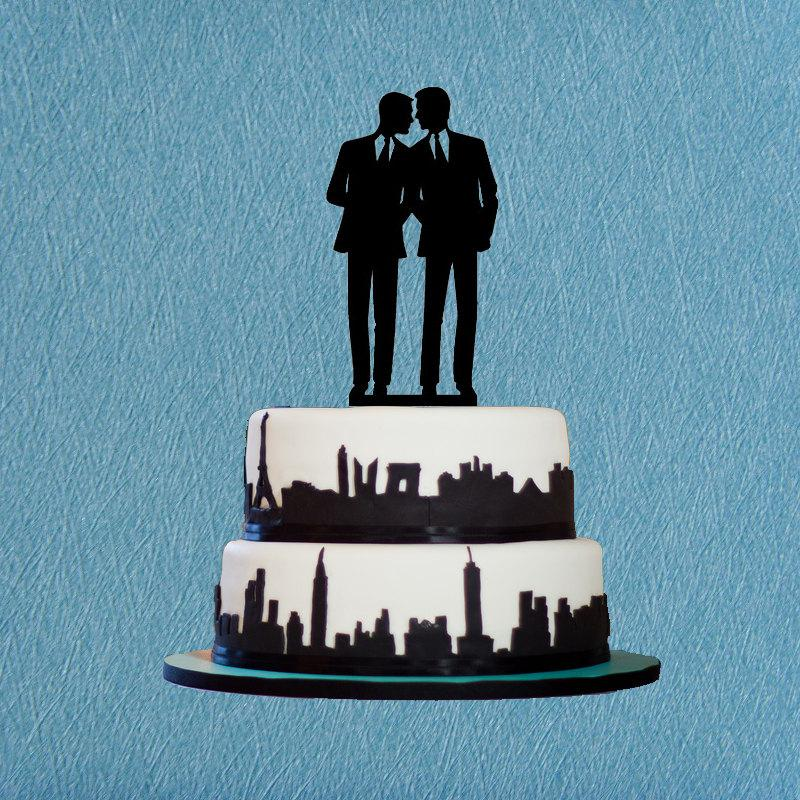 Свадьба - Gay Wedding Cake Topper,Same Sex Cake Topper,Unique Wedding Cake Topper Gay Silhouette,Modern Wedding Cake Topper