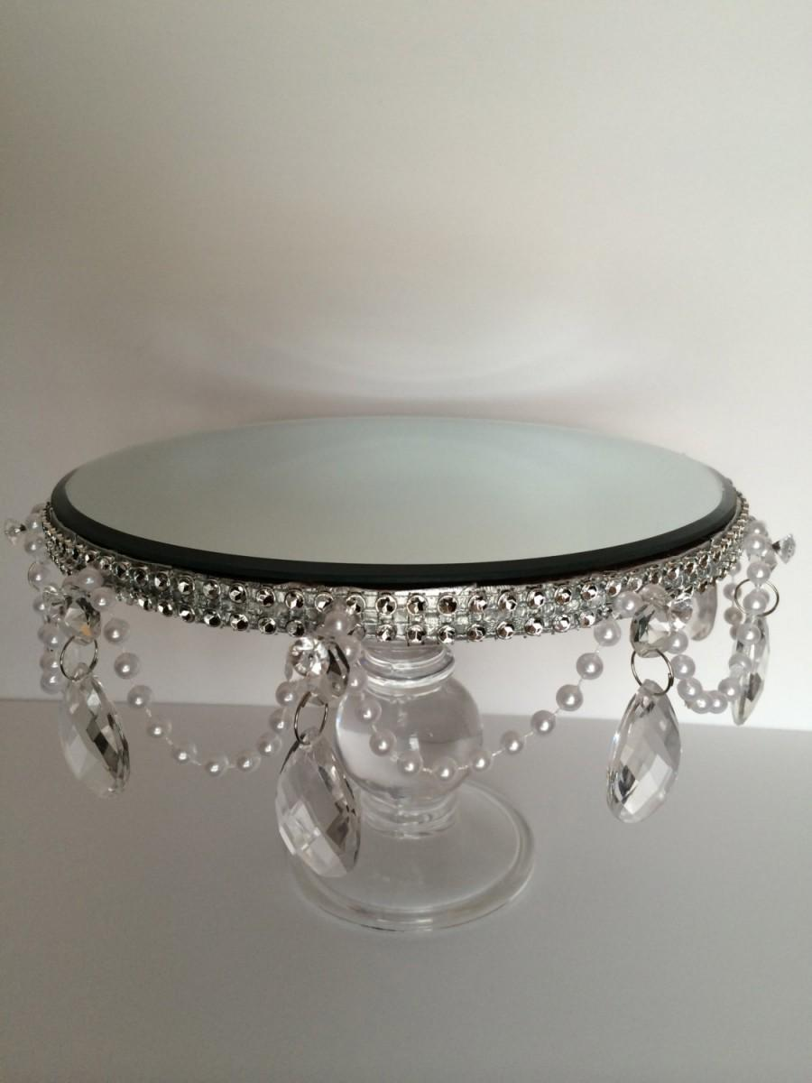 Свадьба - Cake Stand with Pearl and Acrylic Tear Drop Crystals