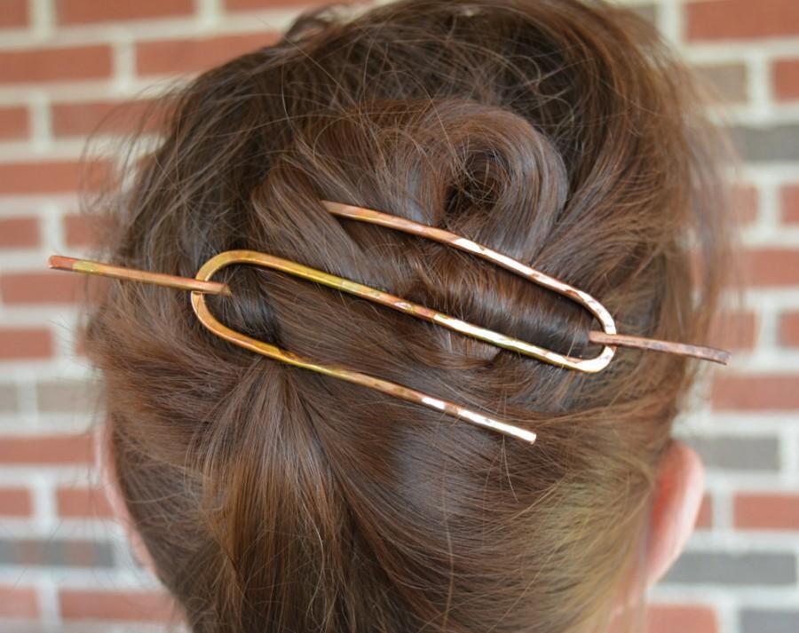 Wedding - Hair Slide - Copper Hair Bun - Brass Hair Clip - Copper Hair Accessories - Women's Gift - Hair Piece for French Twist - Copper Hair Clip