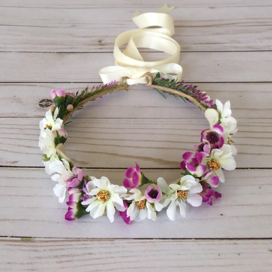 Mariage - Purple Ivory Flower Girl Flower Crown, Magenta Ivory Floral Wreath, Child Bridal Crown, Spring Photo Shoot, Spring Wedding, Boho Flower Girl