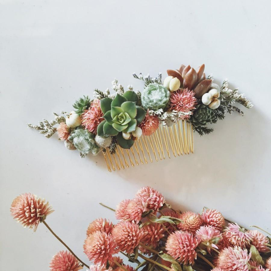 Mariage - Succulent Hair Comb // Green and Pink