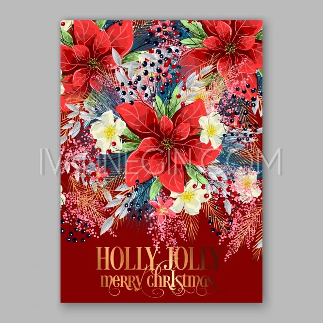 Wedding - Merry Christmas Party Invitation Poinsettia - Unique vector illustrations, christmas cards, wedding invitations, images and photos by Ivan Negin
