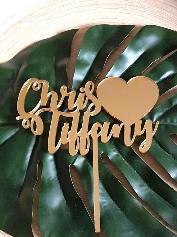 زفاف - Custom Name and Solid Heart Cake Topper Acrylic Decoration Other Colours Available Wedding Engagement Plain Mirror Glitter cathscottage