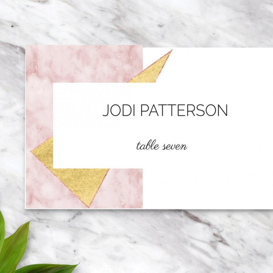 Mariage - Gold Blush Pink Marble Wedding Place Cards