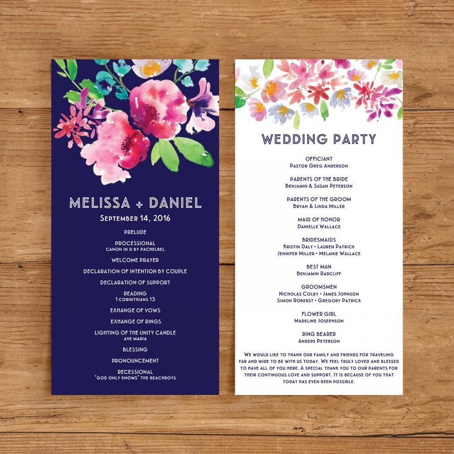زفاف - Printable Wedding Program Template