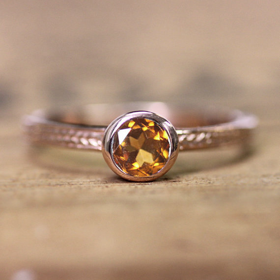 Hochzeit - Rose gold ring for women, 14k rose gold ring, gold citrine ring gold, november birthstone ring, wheat ring, braided ring, custom made
