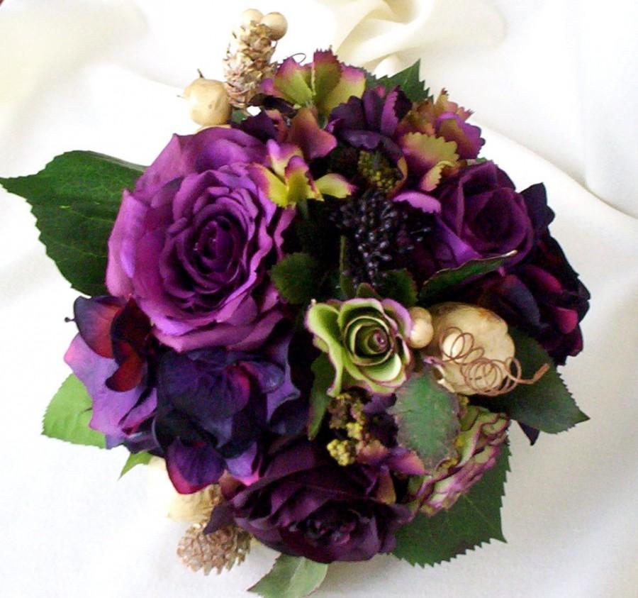 Wedding - Plum Bridal bouquet Silk Wedding Flowers Radiant Orchid Purple bridal party accessories, vineyard weddings, bridesmaid bokay, autumn fall