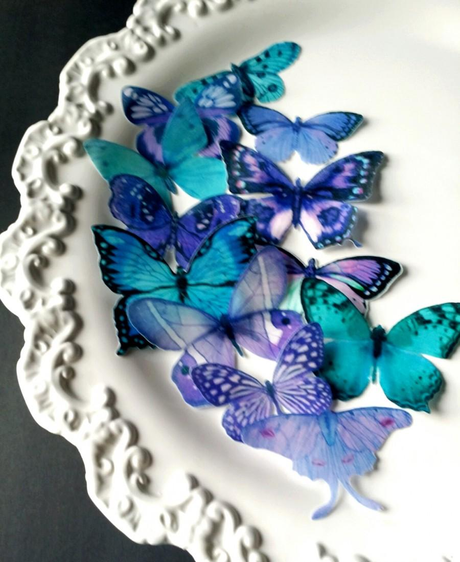 Wedding - Edible Sugarbutterflies© Blue-Teal Purple Edible Cake-Cupcake Toppers,12