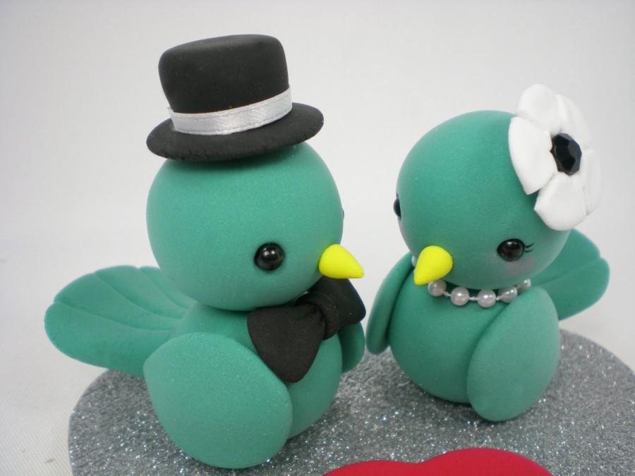 Wedding - Custom Love Birds Wedding Cake Topper--Blue Birds Love with Heart Base - SPECIAL  FOR 2016