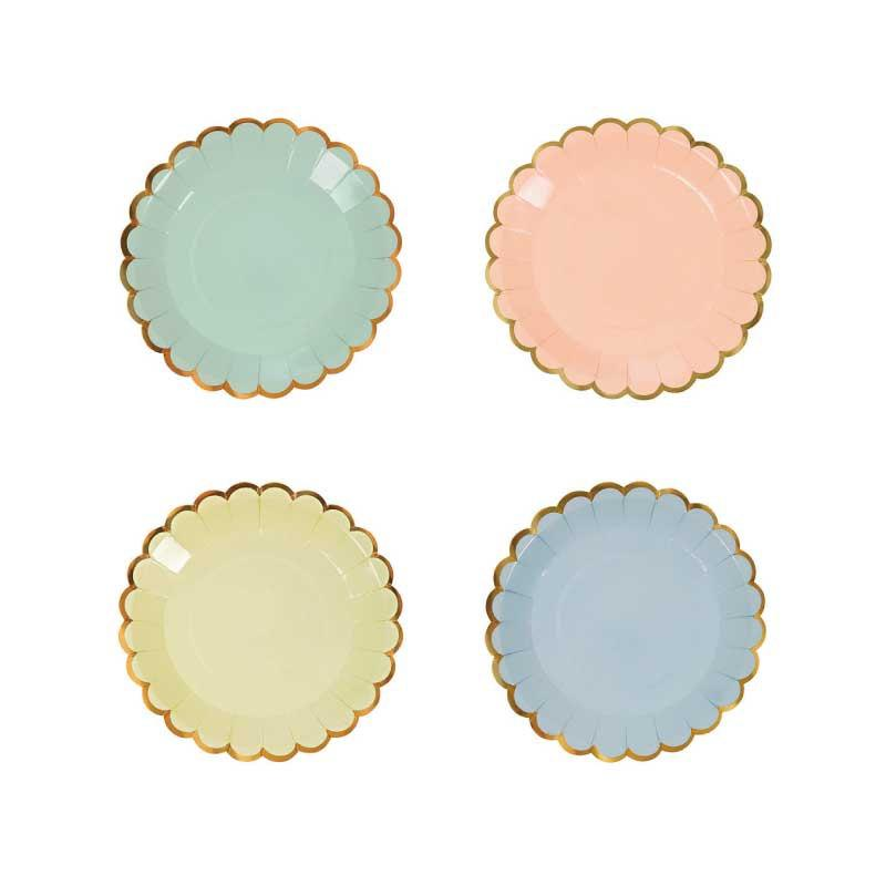 Pastel Scallop Canape Plates (Set of 8) Meri Meri Tiny Paper Plate with Gold Edge 4  x 4  Toot Sweet Party Plate Peach Mint Yellow Blue  sc 1 st  Weddbook & Pastel Scallop Canape Plates (Set Of 8) Meri Meri Tiny Paper Plate ...