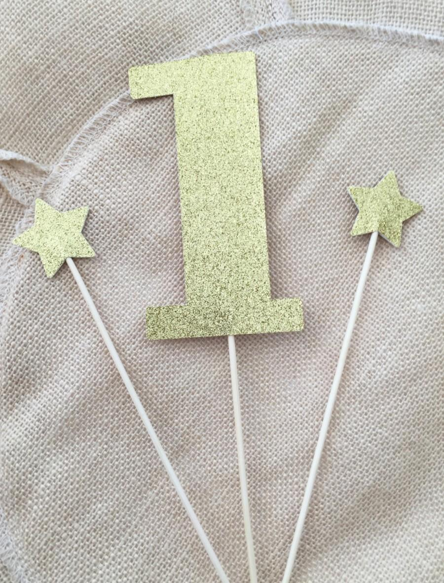 Twinkle Little Star One Cake Topper Set 3 First Birthday 1 Gold Glitter Toppers