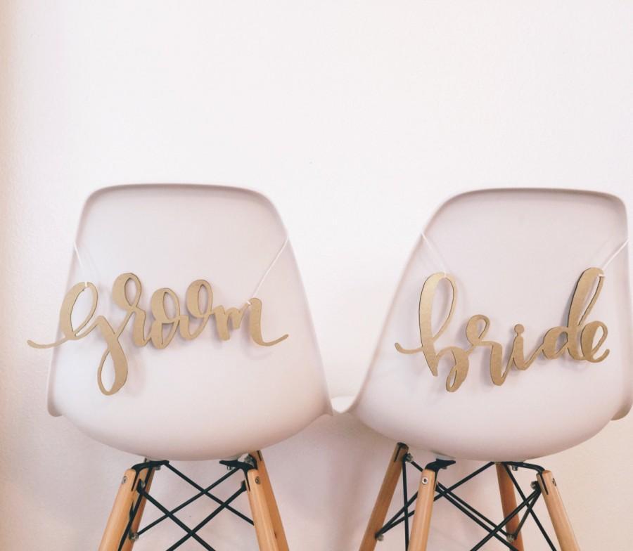 Wedding - Modern Bride and Groom Chair Backs