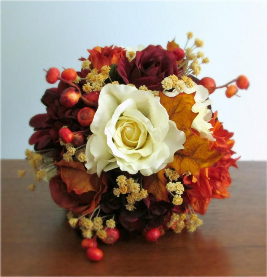 "Wedding - Burnt Orange, Burgundy, and Ivory, Fall Silk Wedding Bouquet, Roses, Dahilas, Hydrangea, Berries, Autumn Leaves, ""Sundance"""