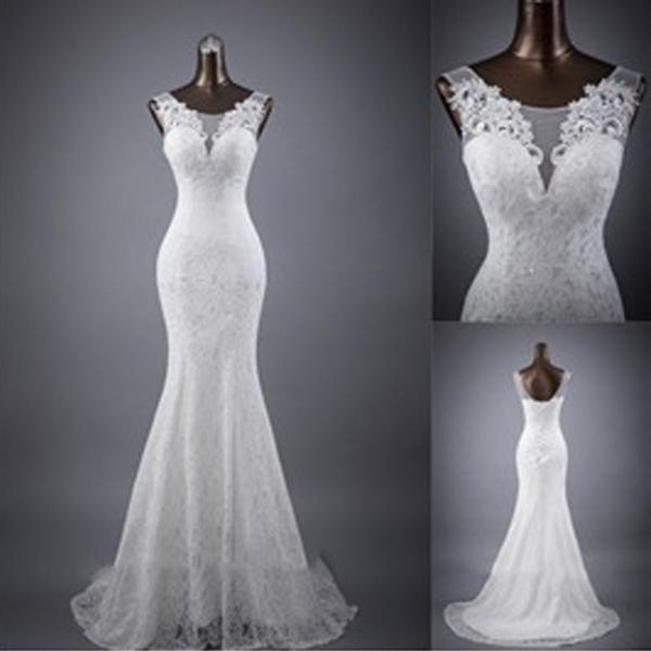 Wedding - Elegant Sleeveless Mermaid Lace Up Popular White Lace Wedding Dresses, WD0142