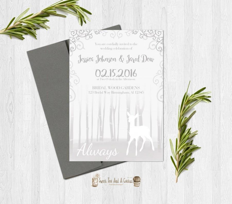 harry potter wedding invitation printable deer after all this time always love sci fi geek nerd marriage announcement gray white download - Harry Potter Wedding Invitations