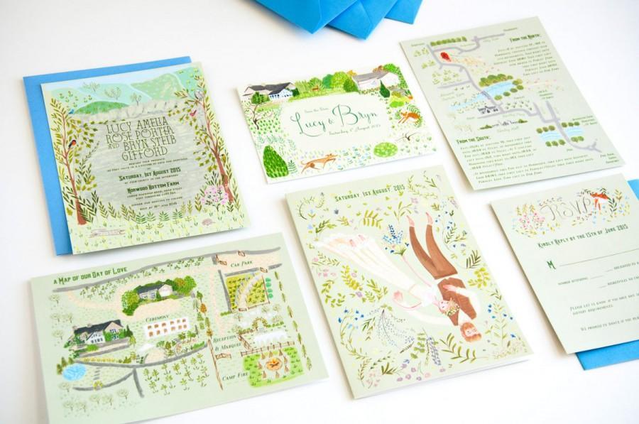 زفاف - Woodland Wonderland custom illustrated wedding stationery - invite, save the date, rsvp and map
