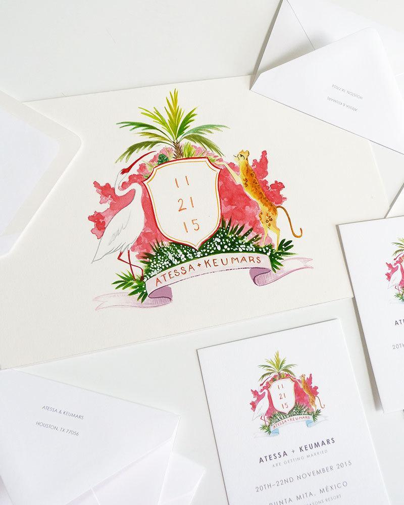 Wedding - Jaguar and Crane Wedding Crest Save the Date custom illustrated