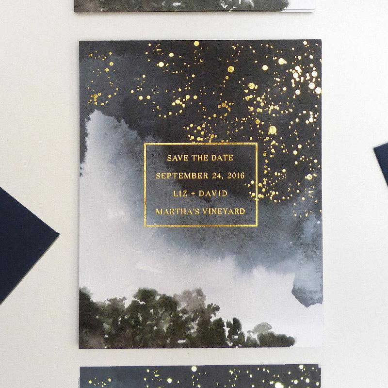 Mariage - Celestial gold foil Save the Date
