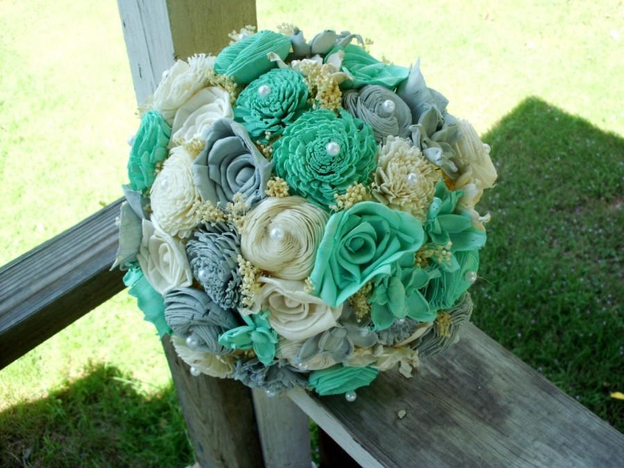 Свадьба - Robin's egg blue and gray bridal bouquet