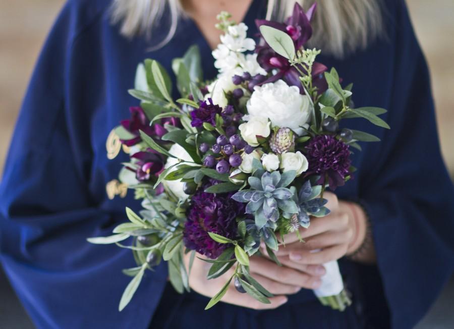 Plum Wedding Bouquet, Succulent Bridal Bouquet, Eggplant Wedding ...