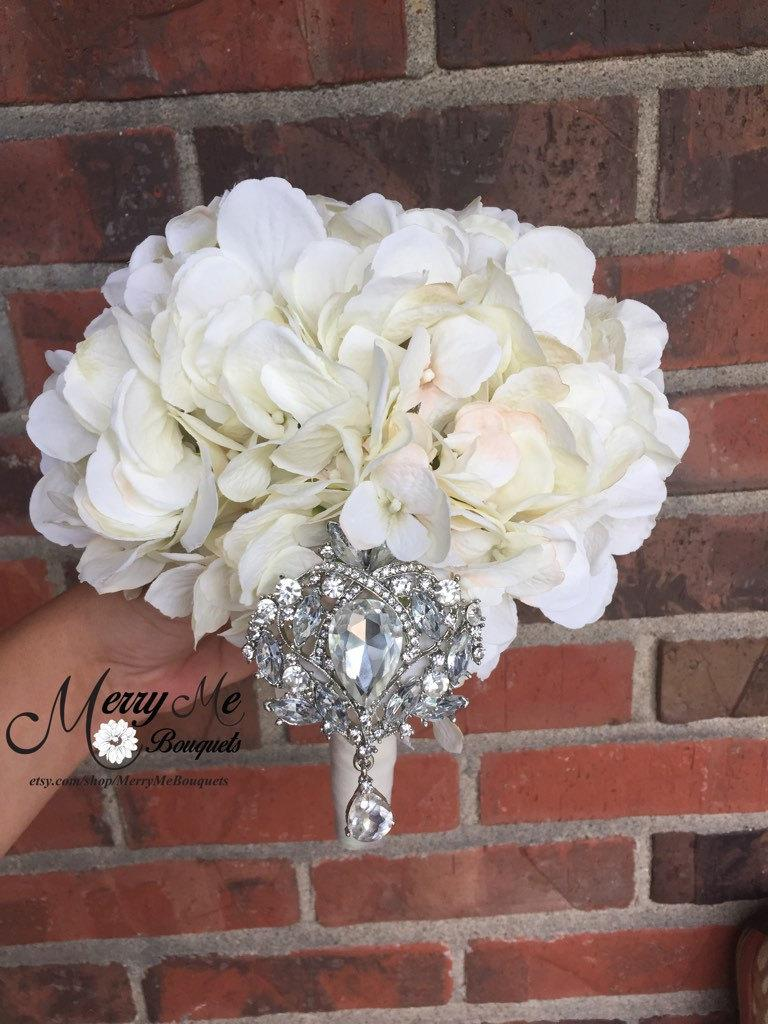 Свадьба - Hydrangea Brooch Bouquet - Bridal Bouquet - Keepsake Bouquet - Hydrangea Broach Bouquet - Hydrangea Bouquet - Bridesmaids Bouquet