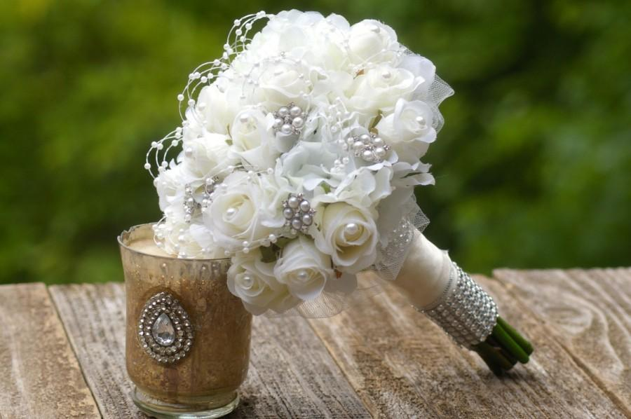 Wedding - Budget Brooch Bouquet Ivory White with FREE Boutonniere