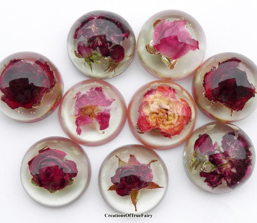 Red Rose Cabochon Real Dried Flower Cabochon For Jewelry Making