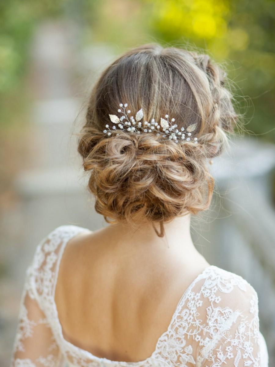 Mariage - Bridal hair pins Wedding hair pins Set of two silver bridal leaf hair pins Silver leaf headpiece Leaves wedding hair accessories Sprig pins