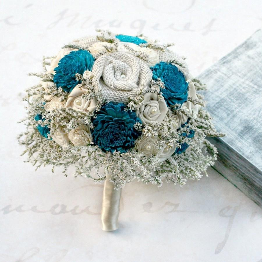 Rustic Bridal Bouquet - Teal Blue // Wedding Bouquet, Bride Bouquet ...