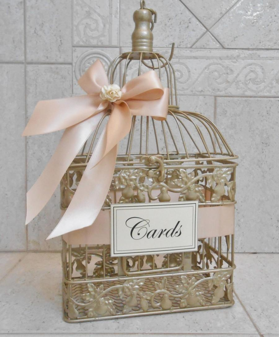 Small Champagne Gold And Blush Wedding Card Box Holder Birdcage Decor