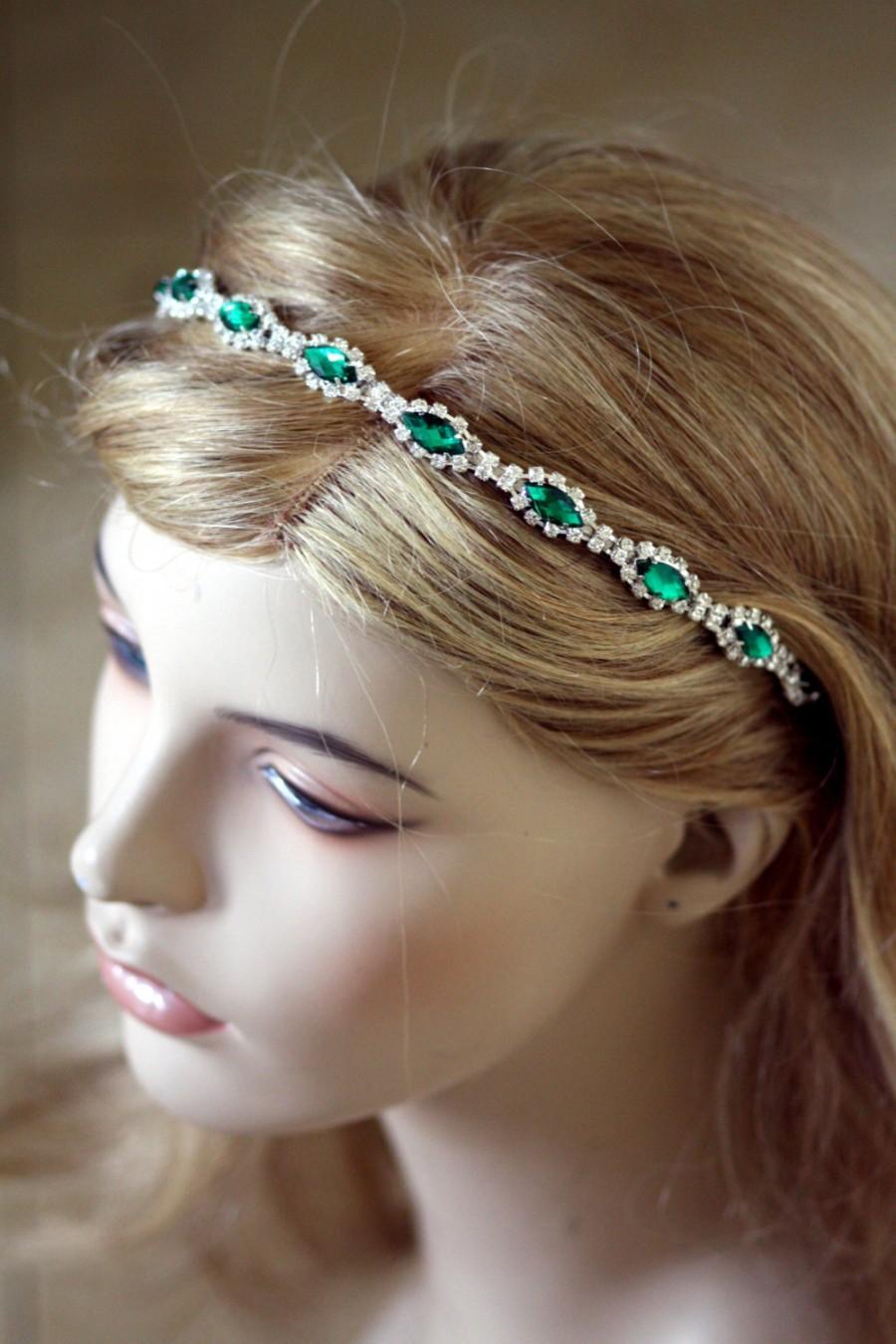Mariage - Bridal Headband, bridal hairpiece, Tiara , Hair accessories,  Crystal flower,Rhinestone Bridal Headband, montana blue, emerald, saphire