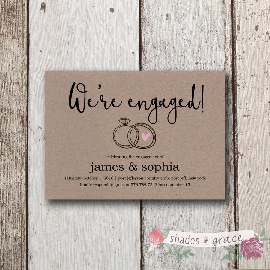 Rustic Engagement Invitation, Printable Engagement Invites, Kraft ...